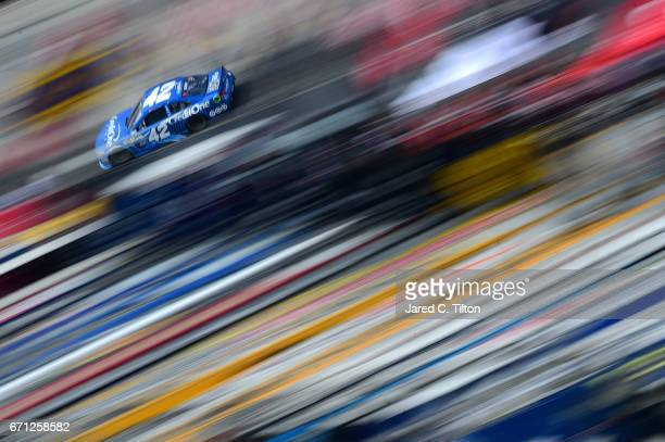 Kyle Larson driver of the Credit One Bank Chevrolet drives during practice for the Monster Energy NASCAR Cup Series Food City 500 at Bristol Motor...