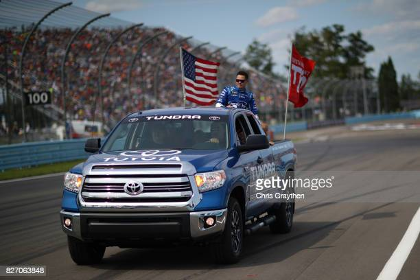 Kyle Larson driver of the Credit One Bank Chevrolet is introduced prior to the Monster Energy NASCAR Cup Series I Love NY 355 at The Glen at Watkins...