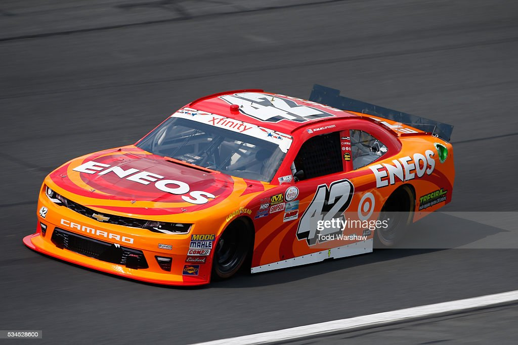 <a gi-track='captionPersonalityLinkClicked' href=/galleries/search?phrase=Kyle+Larson&family=editorial&specificpeople=2115989 ng-click='$event.stopPropagation()'>Kyle Larson</a>, driver of the #42 ENEOS Chevrolet, drives during practice for the NASCAR XFINITY Series Hisense 4K TV 300 at Charlotte Motor Speedway on May 27, 2016 in Charlotte, North Carolina.