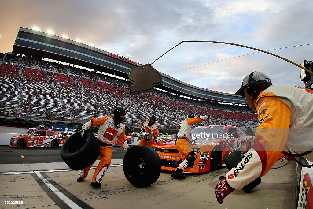 Kyle Larson driver of the ENEOS Chevrolet pits during the NASCAR XFINITY Series Food City 300 at Bristol Motor Speedway on August 19 2016 in Bristol...