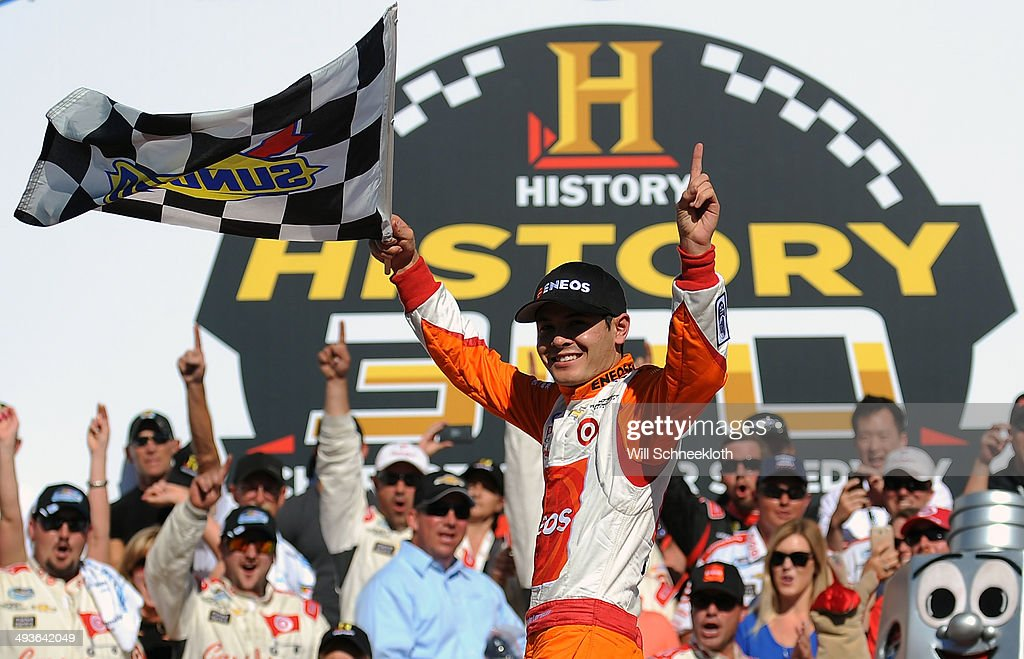 larson driver of the 42 enoes chevrolet celebrates in victory lane. Cars Review. Best American Auto & Cars Review