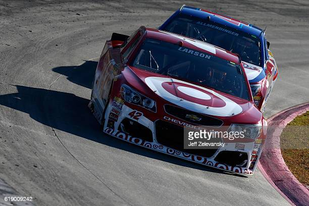 Kyle Larson driver of the Target Chevrolet and AJ Allmendinger driver of the Kroger/Clorox Chevrolet practice for the NASCAR Sprint Cup Series...