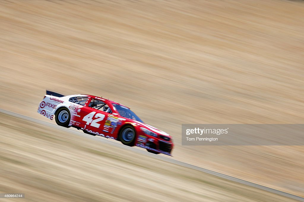 <a gi-track='captionPersonalityLinkClicked' href=/galleries/search?phrase=Kyle+Larson&family=editorial&specificpeople=2115989 ng-click='$event.stopPropagation()'>Kyle Larson</a>, driver of the #42 Target Chevrolet, drives during practice for the NASCAR Sprint Cup Series Toyota/Save Mart 350 at Sonoma Raceway on June 20, 2014 in Sonoma, California.