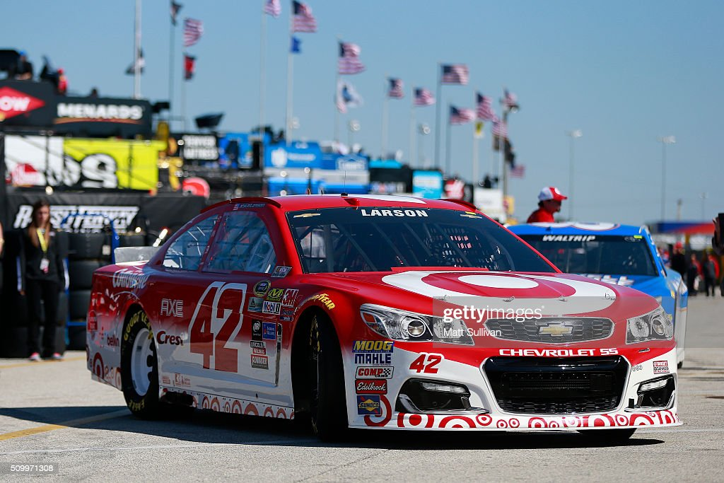<a gi-track='captionPersonalityLinkClicked' href=/galleries/search?phrase=Kyle+Larson&family=editorial&specificpeople=2115989 ng-click='$event.stopPropagation()'>Kyle Larson</a>, driver of the #42 Target Chevrolet, drives through the garage area during practice for the NASCAR Sprint Cup Series Daytona 500 at Daytona International Speedway on February 13, 2016 in Daytona Beach, Florida.