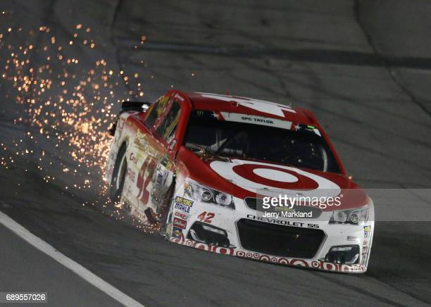 Kyle Larson driver of the Target Chevrolet drives to his pit during the Monster Energy NASCAR Cup Series CocaCola 600 at Charlotte Motor Speedway on...