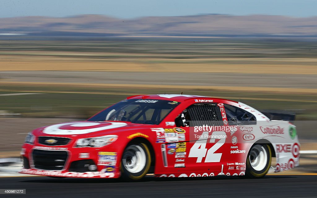 <a gi-track='captionPersonalityLinkClicked' href=/galleries/search?phrase=Kyle+Larson&family=editorial&specificpeople=2115989 ng-click='$event.stopPropagation()'>Kyle Larson</a>, driver of the #42 Target Chevrolet, during practice for the NASCAR Sprint Cup Series Toyota/Save Mart 350 at Sonoma Raceway on June 20, 2014 in Sonoma, California.