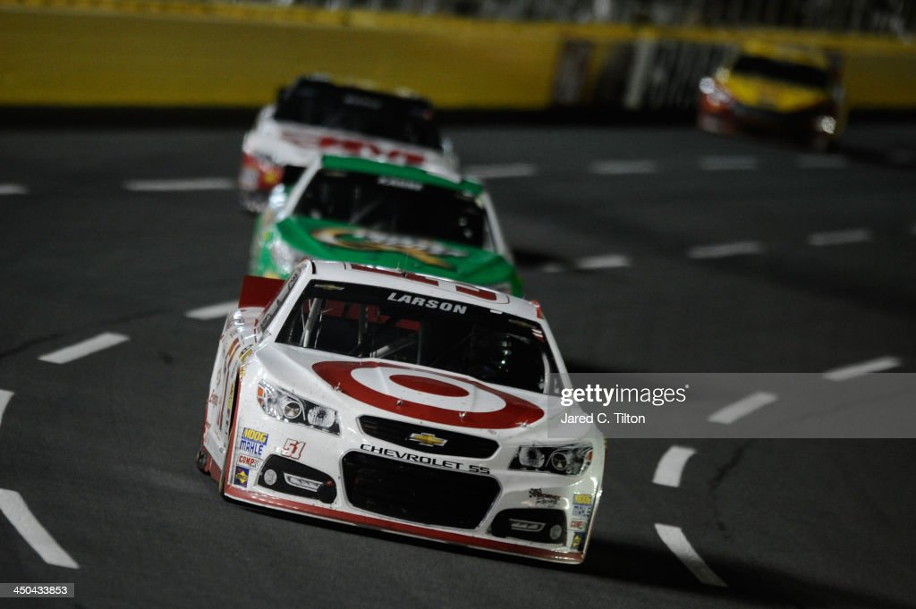 Kyle Larson, driver of the #51 Target Chevrolet, during the NASCAR Sprint Cup Series Bank of America 500 at Charlotte Motor Speedway on October 12, 2013 in Concord, North Carolina.