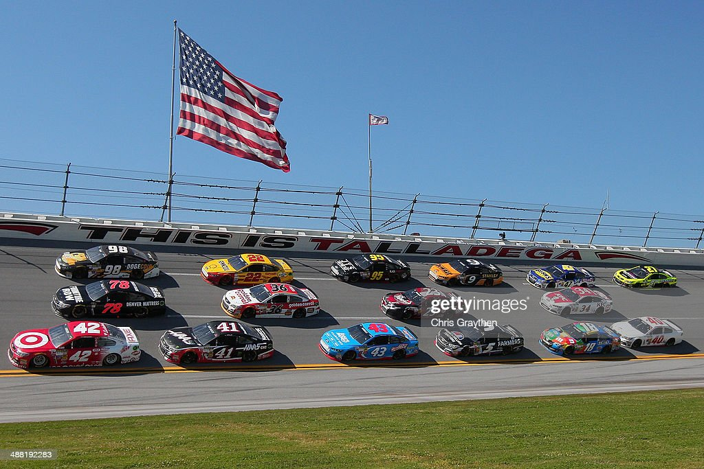 Kyle Larson, driver of the #42 Target Chevrolet, leads a pack of cars during the NASCAR Sprint Cup Series Aaron's 499 at Talladega Superspeedway on May 4, 2014 in Talladega, Alabama.