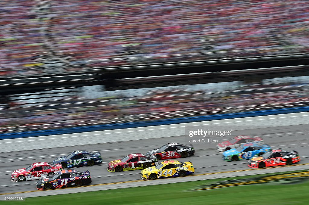 Kyle Larson, driver of the #42 Target Chevrolet, leads a pack of cars during the NASCAR Sprint Cup Series GEICO 500 at Talladega Superspeedway on May 1, 2016 in Talladega, Alabama.