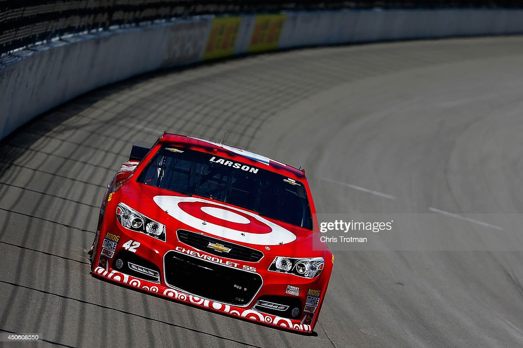 <a gi-track='captionPersonalityLinkClicked' href=/galleries/search?phrase=Kyle+Larson&family=editorial&specificpeople=2115989 ng-click='$event.stopPropagation()'>Kyle Larson</a>, driver of the #42 Target Chevrolet, practices for the NASCAR Sprint Cup Series Quicken Loans 400 at Michigan International Speedway on June 14, 2014 in Brooklyn, Michigan.