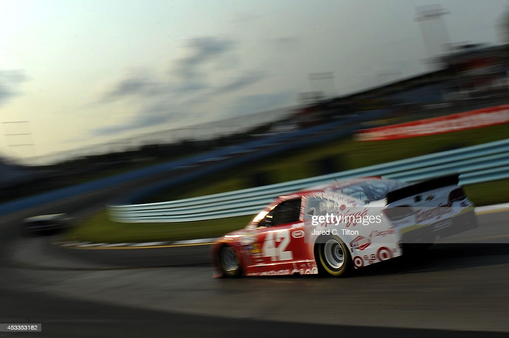 Kyle Larson driver of the Target Chevrolet practices for the NASCAR Sprint Cup Series CheezIt 355 at Watkins Glen International on August 8 2014 in...