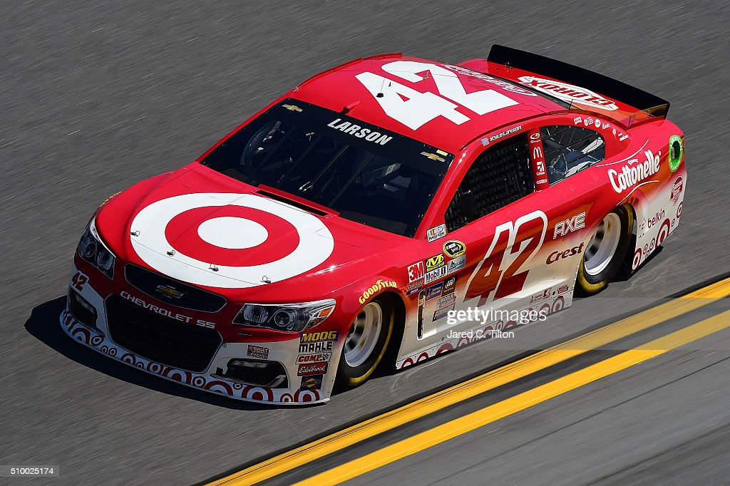 <a gi-track='captionPersonalityLinkClicked' href=/galleries/search?phrase=Kyle+Larson&family=editorial&specificpeople=2115989 ng-click='$event.stopPropagation()'>Kyle Larson</a>, driver of the #42 Target Chevrolet, practices for the NASCAR Sprint Cup Series Daytona 500 at Daytona International Speedway on February 13, 2016 in Daytona Beach, Florida.