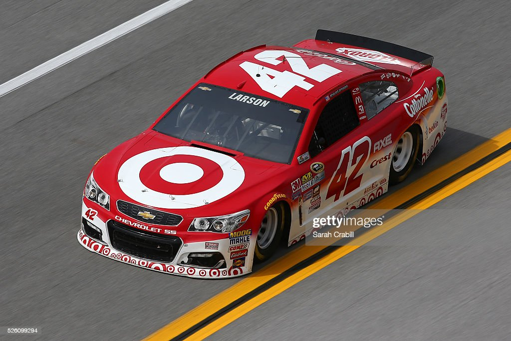 Kyle Larson, driver of the #42 Target Chevrolet, practices for the NASCAR Sprint Cup Series GEICO 500 at Talladega Superspeedway on April 29, 2016 in Talladega, Alabama.