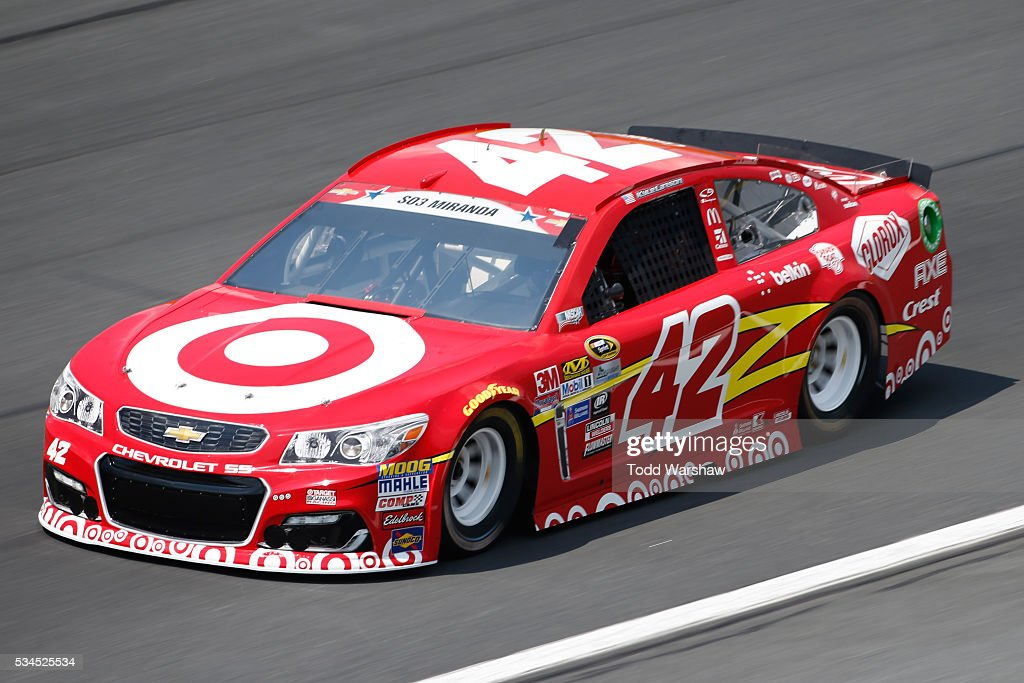 <a gi-track='captionPersonalityLinkClicked' href=/galleries/search?phrase=Kyle+Larson+-+Race+Car+Driver&family=editorial&specificpeople=2115989 ng-click='$event.stopPropagation()'>Kyle Larson</a>, driver of the #42 Target Chevrolet, practices for the NASCAR Sprint Cup Series Coca-Cola 600 at Charlotte Motor Speedway on May 27, 2016 in Charlotte, North Carolina.