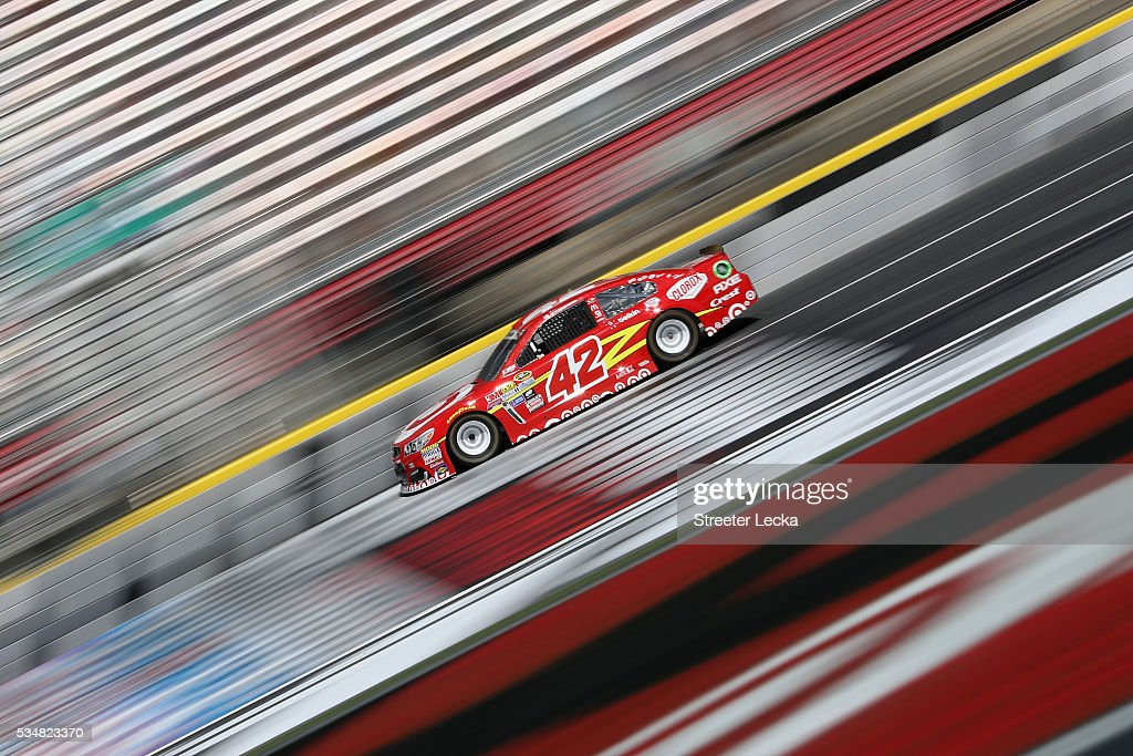 <a gi-track='captionPersonalityLinkClicked' href=/galleries/search?phrase=Kyle+Larson&family=editorial&specificpeople=2115989 ng-click='$event.stopPropagation()'>Kyle Larson</a>, driver of the #42 Target Chevrolet, practices for the NASCAR Sprint Cup Series Coca-Cola 600 at Charlotte Motor Speedway on May 28, 2016 in Charlotte, North Carolina.