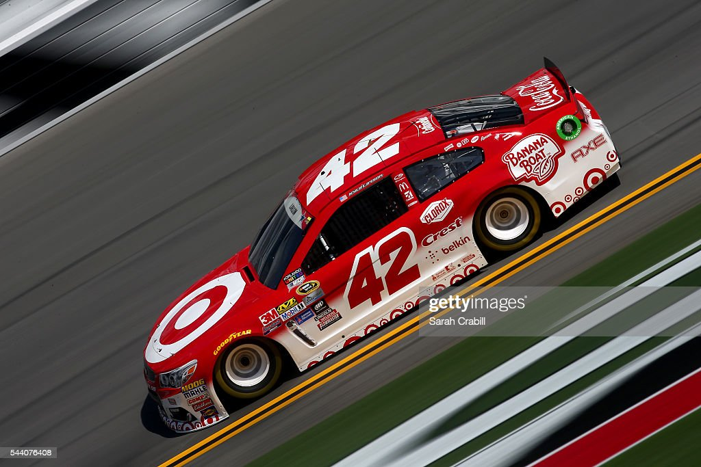 Kyle Larson, driver of the #42 Target Chevrolet, practices for the NASCAR Sprint Cup Series Coke Zero 400 at Daytona International Speedway on July 1, 2016 in Daytona Beach, Florida.