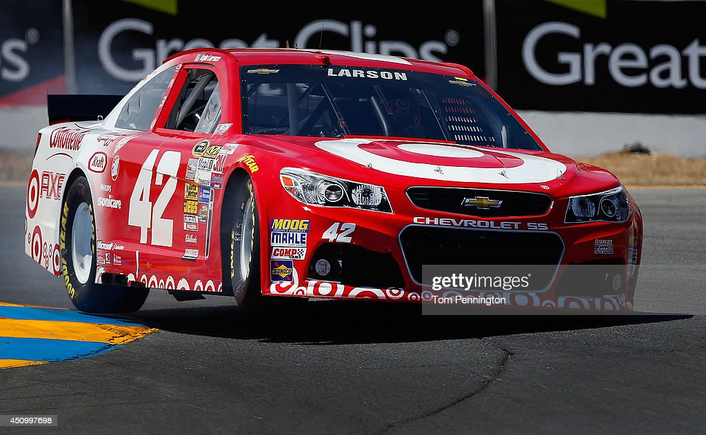 <a gi-track='captionPersonalityLinkClicked' href=/galleries/search?phrase=Kyle+Larson+-+Race+Car+Driver&family=editorial&specificpeople=2115989 ng-click='$event.stopPropagation()'>Kyle Larson</a>, driver of the #42 Target Chevrolet, qualifies for the NASCAR Sprint Cup Series Toyota/Save Mart 350 at Sonoma Raceway on June 21, 2014 in Sonoma, California.