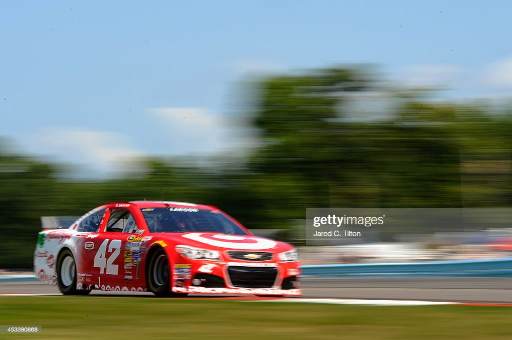<a gi-track='captionPersonalityLinkClicked' href=/galleries/search?phrase=Kyle+Larson&family=editorial&specificpeople=2115989 ng-click='$event.stopPropagation()'>Kyle Larson</a>, driver of the #42 Target Chevrolet, qualifies for the NASCAR Sprint Cup Series Cheez-It 355 at Watkins Glen International on August 9, 2014 in Watkins Glen, New York.