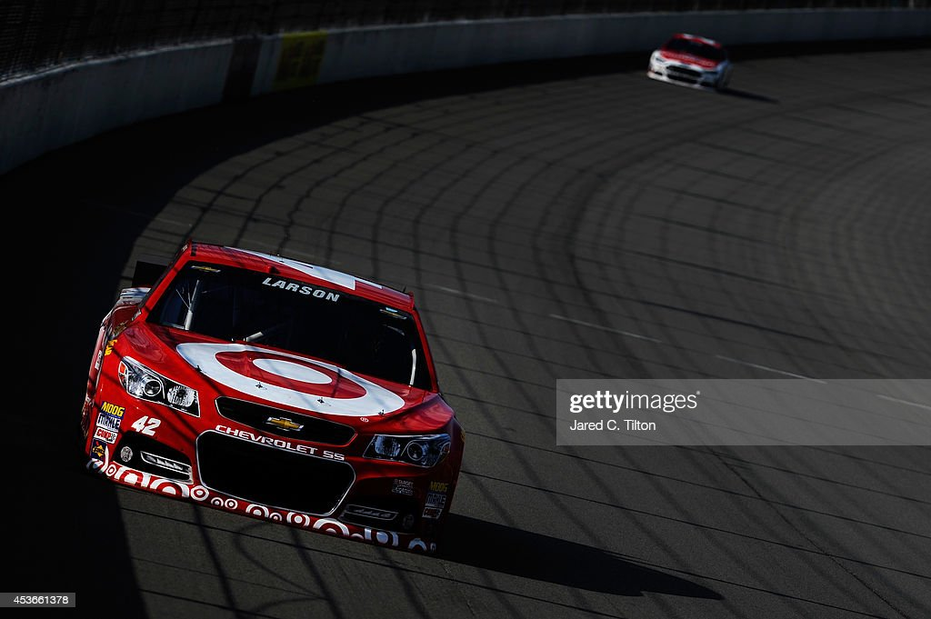 Kyle Larson, driver of the #42 Target Chevrolet, qualifies for the NASCAR Sprint Cup Series Pure Michigan 400 at Michigan International Speedway on August 15, 2014 in Brooklyn, Michigan.
