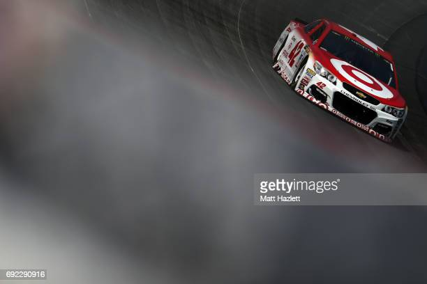Kyle Larson driver of the Target Chevrolet races during the Monster Energy NASCAR Cup Series AAA 400 Drive for Autism at Dover International Speedway...