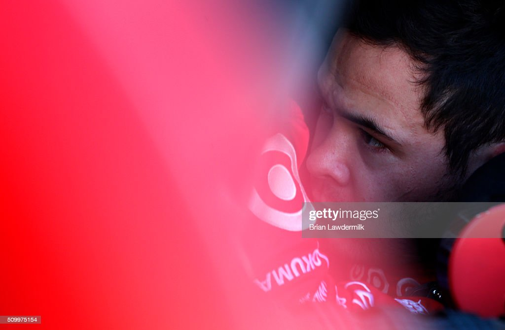<a gi-track='captionPersonalityLinkClicked' href=/galleries/search?phrase=Kyle+Larson&family=editorial&specificpeople=2115989 ng-click='$event.stopPropagation()'>Kyle Larson</a>, driver of the #42 Target Chevrolet, sits in his car during practice for the NASCAR Sprint Cup Series Daytona 500 at Daytona International Speedway on February 13, 2016 in Daytona Beach, Florida.