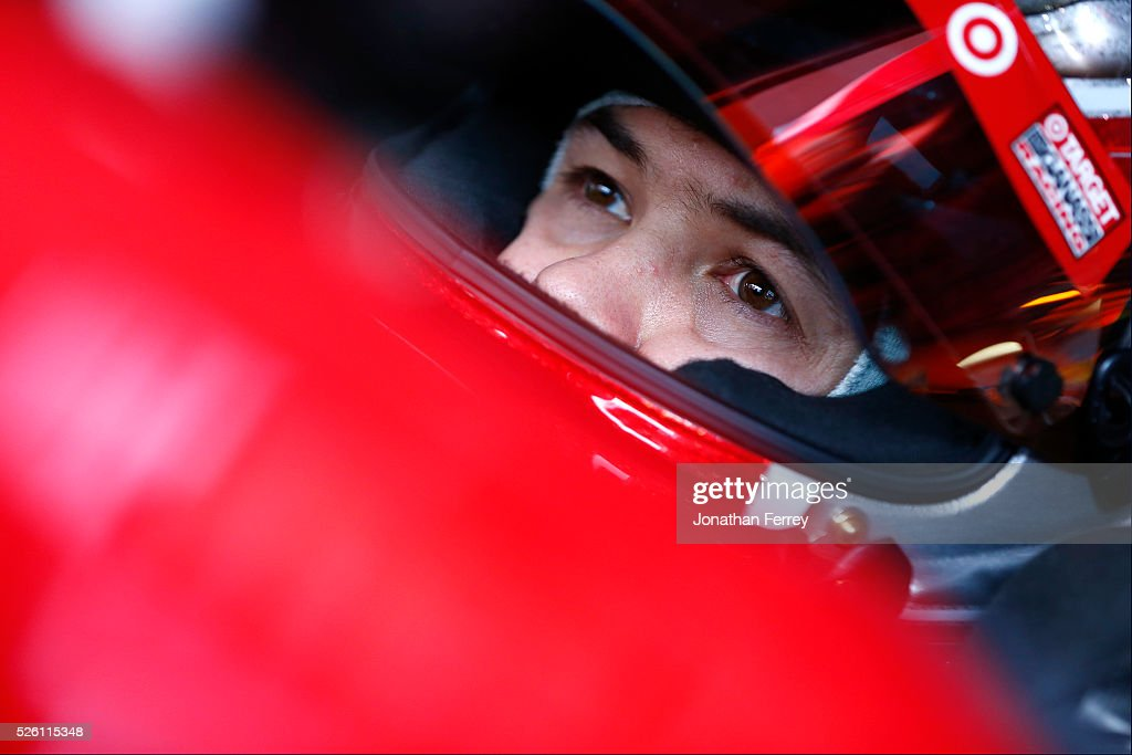 Kyle Larson, driver of the #42 Target Chevrolet, sits in his car during practice for the NASCAR Sprint Cup Series GEICO 500 at Talladega Superspeedway on April 29, 2016 in Talladega, Alabama.