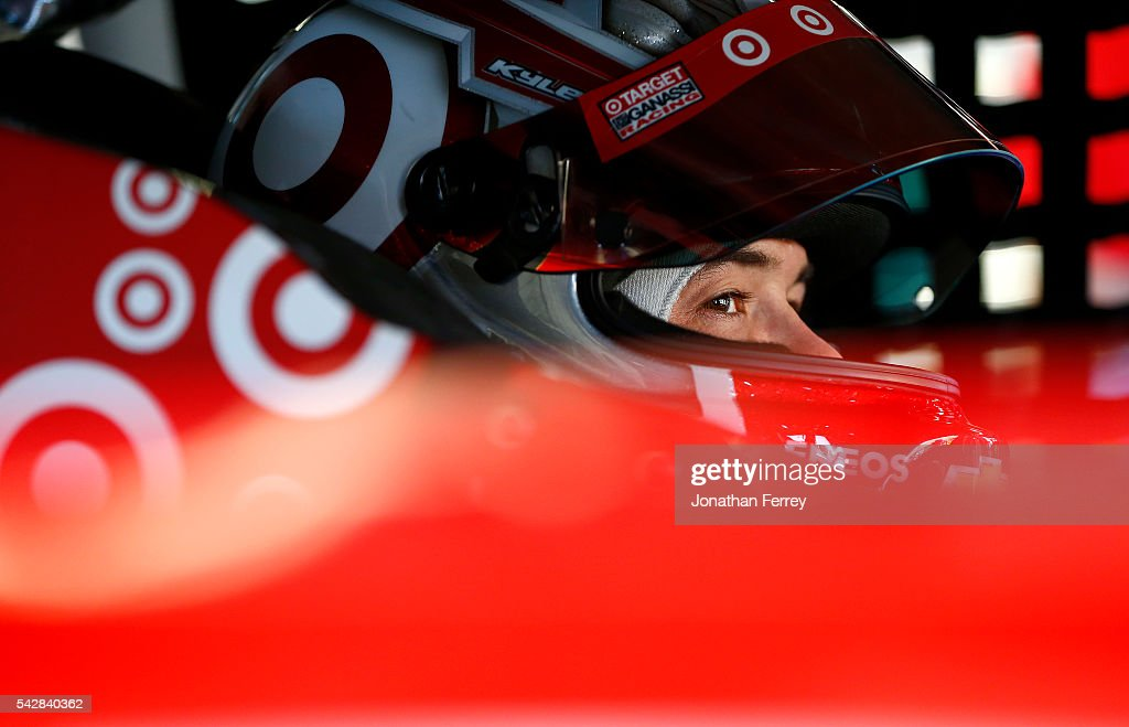<a gi-track='captionPersonalityLinkClicked' href=/galleries/search?phrase=Kyle+Larson+-+Race+Car+Driver&family=editorial&specificpeople=2115989 ng-click='$event.stopPropagation()'>Kyle Larson</a>, driver of the #42 Target Chevrolet, sits in his car during practice for the NASCAR Sprint Cup Series Toyota/Save Mart 350 at Sonoma Raceway on June 24, 2016 in Sonoma, California.