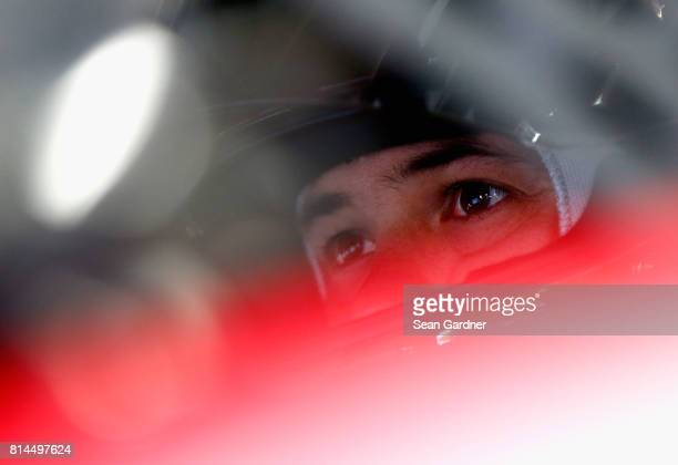 Kyle Larson driver of the Target Chevrolet sits in his car during practice for the Monster Energy NASCAR Cup Series Overton's 301 at New Hampshire...