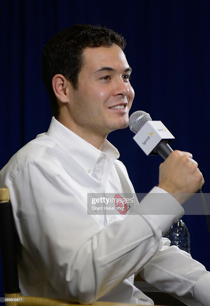 Kyle Larson, driver of the #42 Target Chevrolet, speaks with the media during the NASCAR Sprint Media Tour at Charlotte Convention Center on January 28, 2014 in Charlotte, North Carolina.