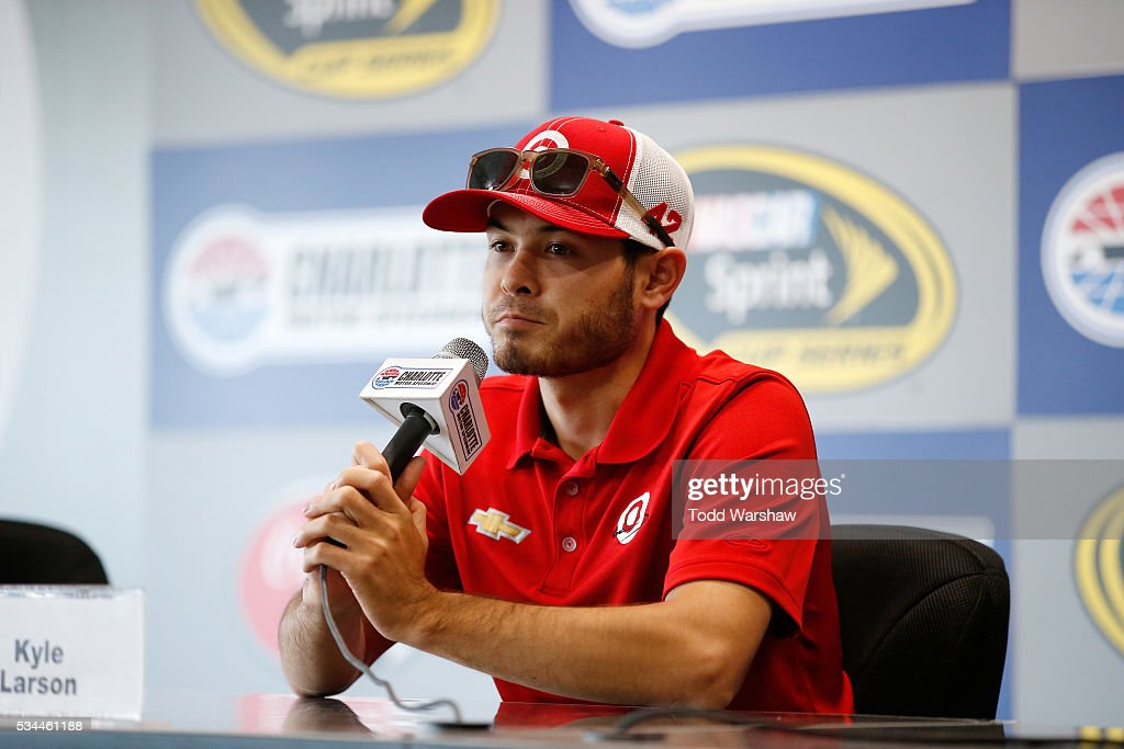 <a gi-track='captionPersonalityLinkClicked' href=/galleries/search?phrase=Kyle+Larson+-+Race+Car+Driver&family=editorial&specificpeople=2115989 ng-click='$event.stopPropagation()'>Kyle Larson</a>, driver of the #42 Target Chevrolet, speaks with the media prior to practice for the NASCAR Sprint Cup Series Coca-Cola 600 at Charlotte Motor Speedway on May 27, 2016 in Charlotte, North Carolina.