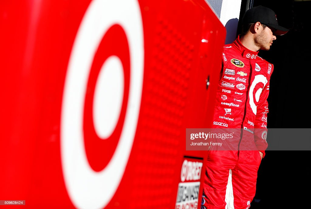 <a gi-track='captionPersonalityLinkClicked' href=/galleries/search?phrase=Kyle+Larson&family=editorial&specificpeople=2115989 ng-click='$event.stopPropagation()'>Kyle Larson</a>, driver of the #42 Target Chevrolet, stands in the garage area during practice for the NASCAR Sprint Cup Series Sprint Unlimited at Daytona International Speedway on February 12, 2016 in Daytona Beach, Florida.