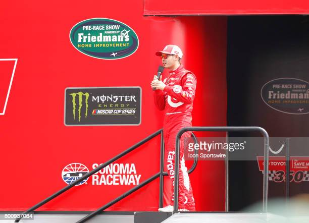Kyle Larson driver of the Target Chevrolet talks with the crowd before the NASCAR Monster Energy Cup Series Toyota/Save Mart 350 on June 25 2017 at...