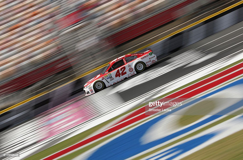Kyle Larson, driver of the #42 Target/Belkin QP Chevrolet, drives during practice for the NASCAR Sprint Cup Series Bank of America 500 at Charlotte Motor Speedway on October 6, 2016 in Charlotte, North Carolina.