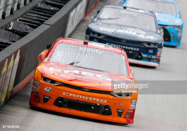 Kyle Larson leading during the Fitzgerald Glider Kits 300 NASCAR Xfinity Series race on April 22 2017 at Bristol Motor Speedway in Bristol TN