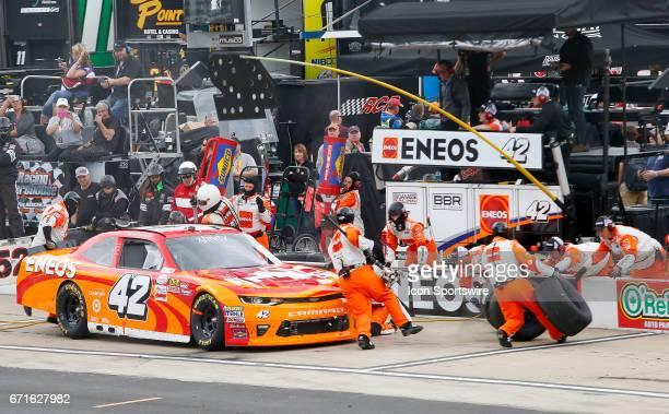 Kyle Larson pits his race car for the first time during the Fitzgerald Glider Kits 300 NASCAR Xfinity Series race on April 22 2017 at Bristol Motor...