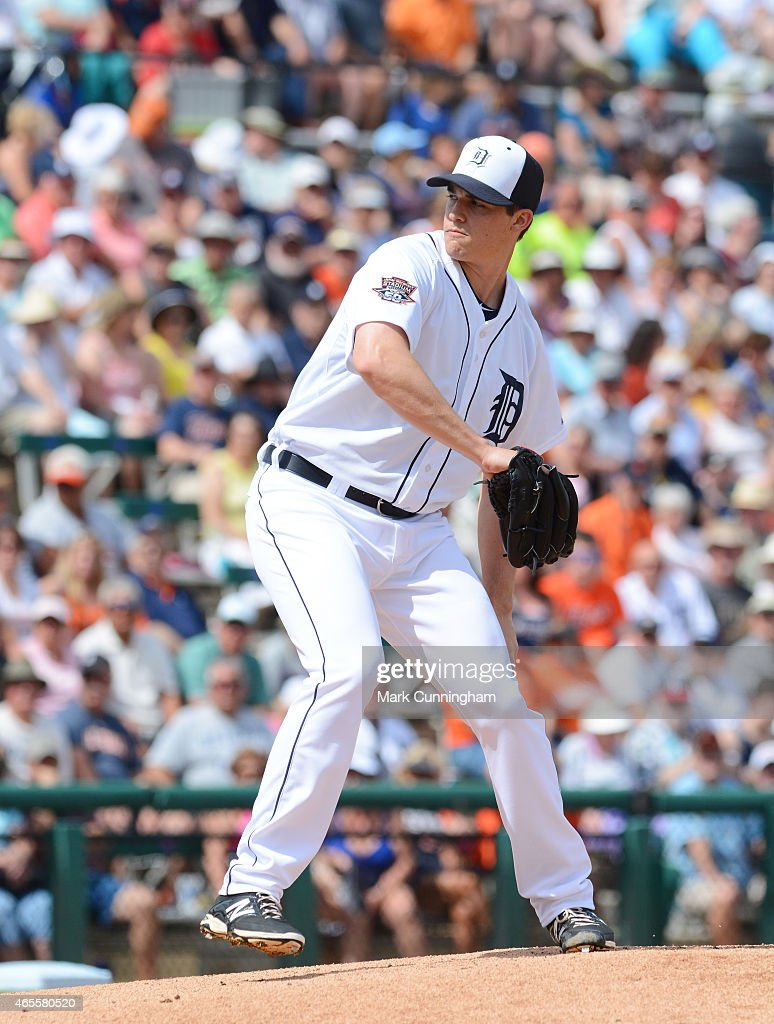 Kyle Lobstein #53 of the Detroit Tigers pitches during the Spring Training game against the Baltimore Orioles at Joker Marchant Stadium on March 3, 2015 in Lakeland, Florida. The Tigers defeated the Orioles 15-2.