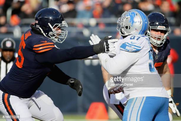 Kyle Long of the Chicago Bears blocks Akeem Spence of the Detroit Lions at Soldier Field on November 19 2017 in Chicago Illinois The Lions defeated...