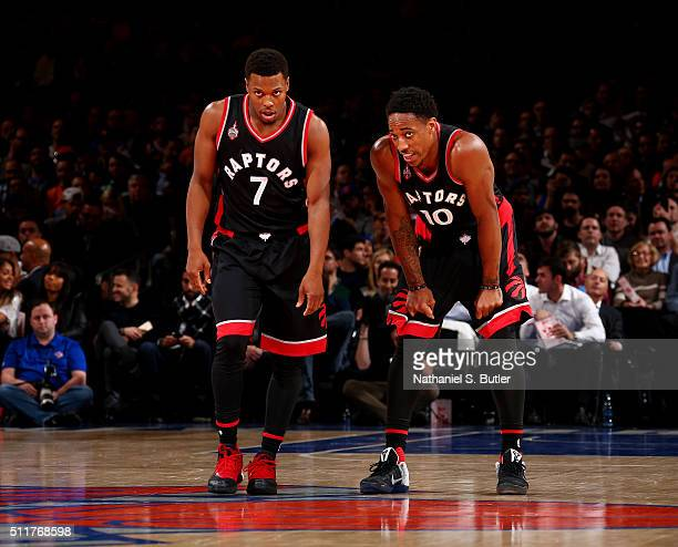 Kyle Lowry and DeMar DeRozan of the Toronto Raptors during the game against the New York Knicks on February 22 2016 at Madison Square Garden in New...