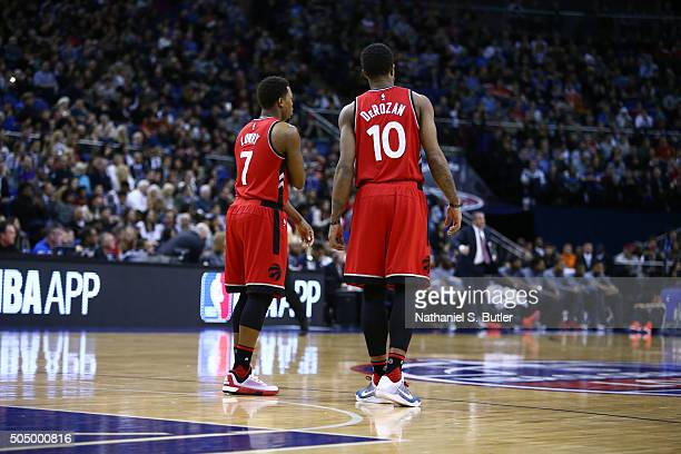 Kyle Lowry and DeMar DeRozan of the Toronto Raptors looks on as part of the 2016 Global Games London on January 14 2016 at The O2 Arena in London...