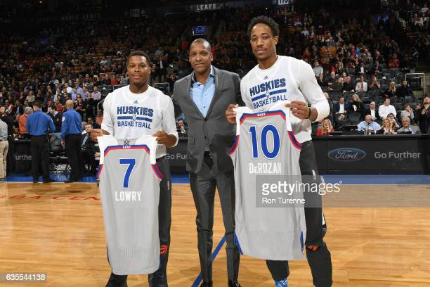 Kyle Lowry and DeMar DeRozan of the Toronto Raptors receive their AllStar jerseys before the game against the Charlotte Hornets on February 15 2017...