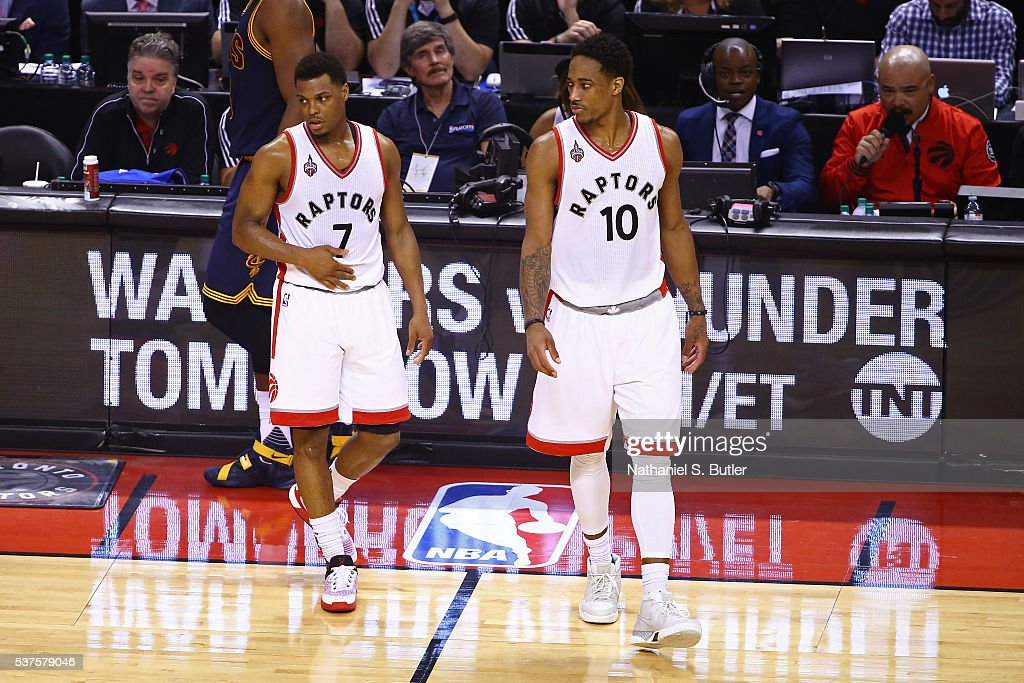 <a gi-track='captionPersonalityLinkClicked' href=/galleries/search?phrase=Kyle+Lowry&family=editorial&specificpeople=714625 ng-click='$event.stopPropagation()'>Kyle Lowry</a> #7 and DeMar DeRozan #10 of the Toronto Raptors walk on the court during Game Six of the NBA Eastern Conference Finals against the Cleveland Cavaliers at Air Canada Centre on May 27, 2016 in Toronto, Ontario, Canada.