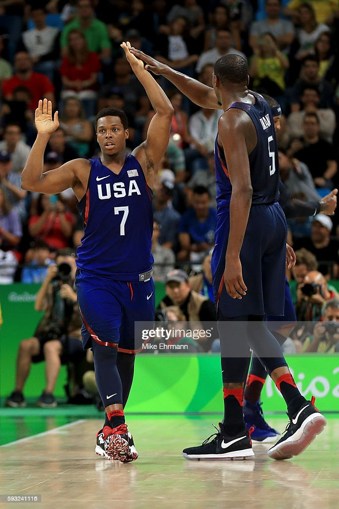 Kyle Lowry and Kevin Durant #5 of United States react after a shot against Serbia during the Men's Gold medal game on Day 16 of the Rio 2016 Olympic Games at Carioca Arena 1 on August 21, 2016 in Rio de Janeiro, Brazil.