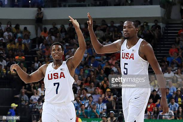 Kyle Lowry and Kevin Durant of United States react in the second half while taking on Argentina during the Men's Quarterfinal match on Day 12 of the...