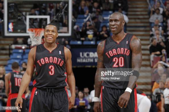Kyle Lowry and Mickael Pietrus of the Toronto Raptors face off against the Sacramento Kings on December 5 2012 at Sleep Train Arena in Sacramento...