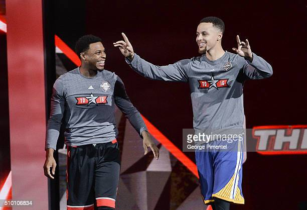 Kyle Lowry and Stephen Curry attend the 2016 NBA AllStar Saturday Night at Air Canada Centre on February 13 2016 in Toronto Canada