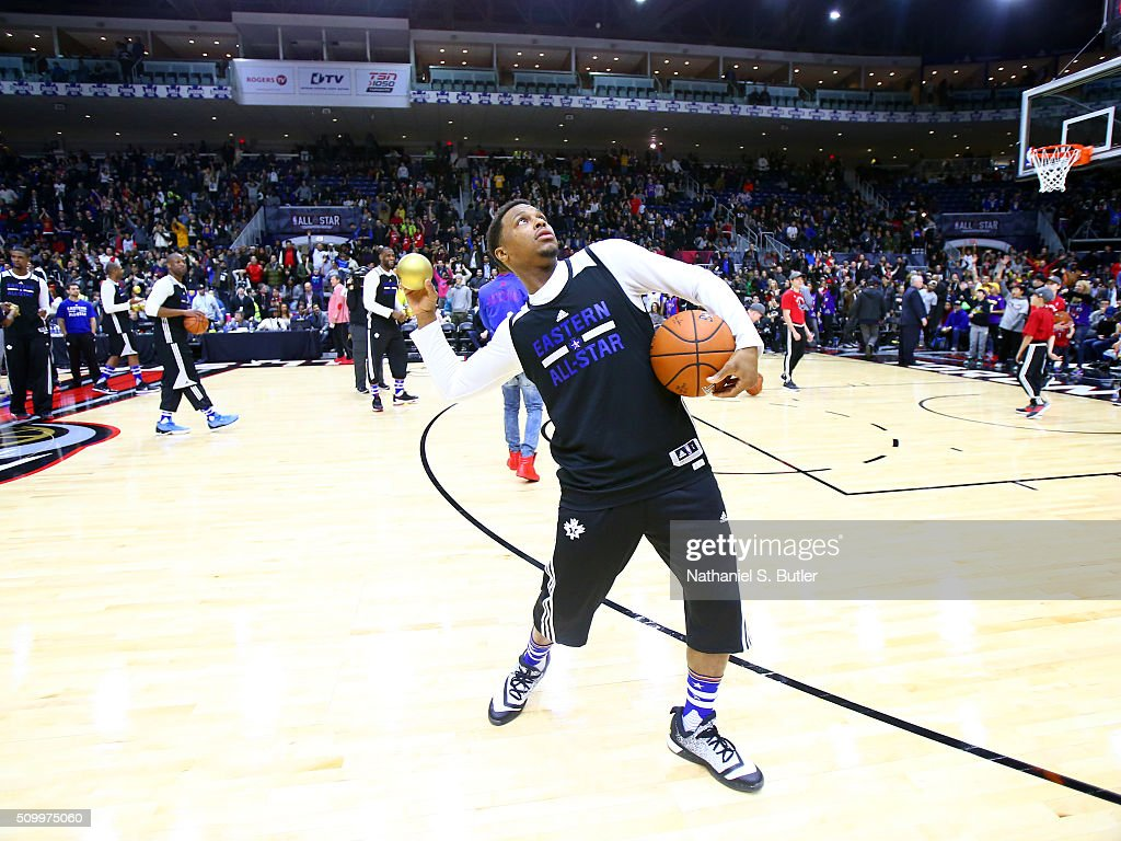 Kyle Lowry #7 of the Eastern Conference All-Stars entertains fans during the NBA All-Star Practice as part of 2016 All-Star Weekend at the Ricoh Coliseum on February 13, 2016 in Toronto, Ontario, Canada.