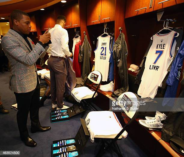 Kyle Lowry of the Eastern Conference Team takes a picture of his jersey and Stance socks prior to the 64th NBA AllStar Game presented by Kia as part...