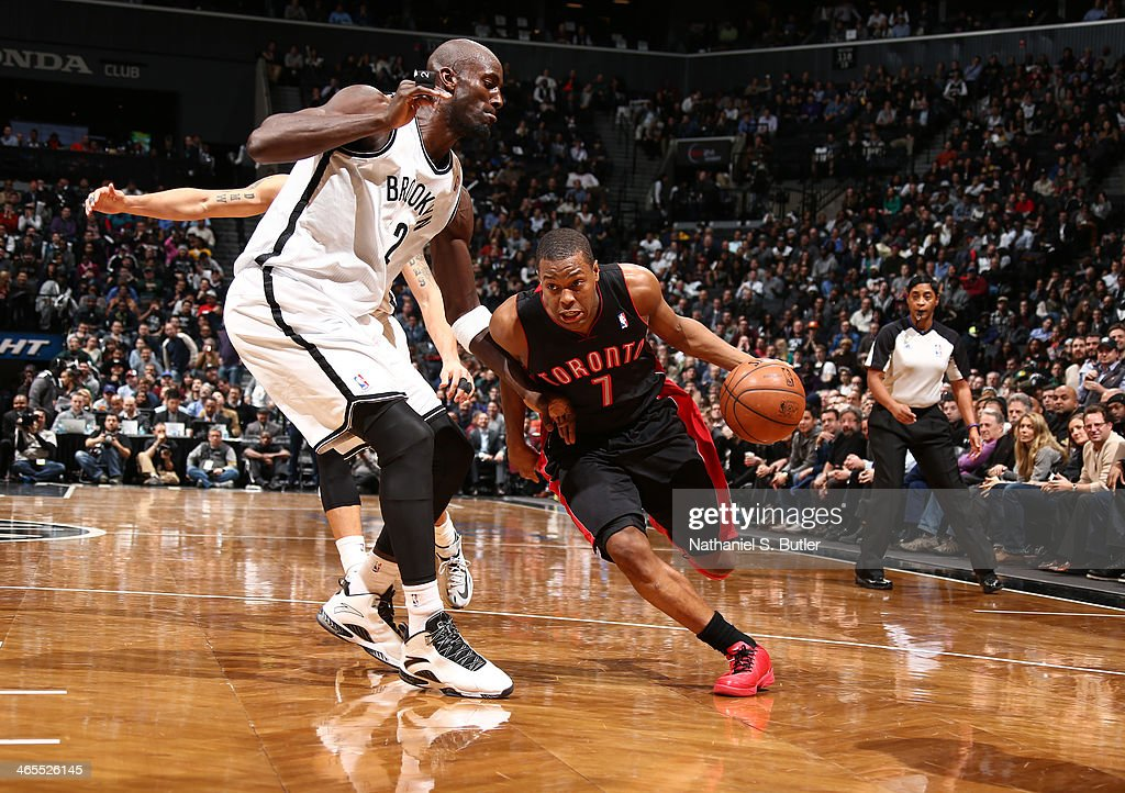<a gi-track='captionPersonalityLinkClicked' href=/galleries/search?phrase=Kyle+Lowry&family=editorial&specificpeople=714625 ng-click='$event.stopPropagation()'>Kyle Lowry</a> #7 of the Toronto Raptor drives against Kevin Garnett #30 of the Brooklyn Nets during a game at Barclays Center in Brooklyn.