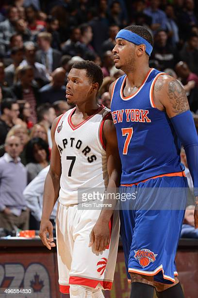 Kyle Lowry of the Toronto Raptors and Carmelo Anthony of the New York Knicks during the game on November 10 2015 at Air Canada Centre in Toronto...