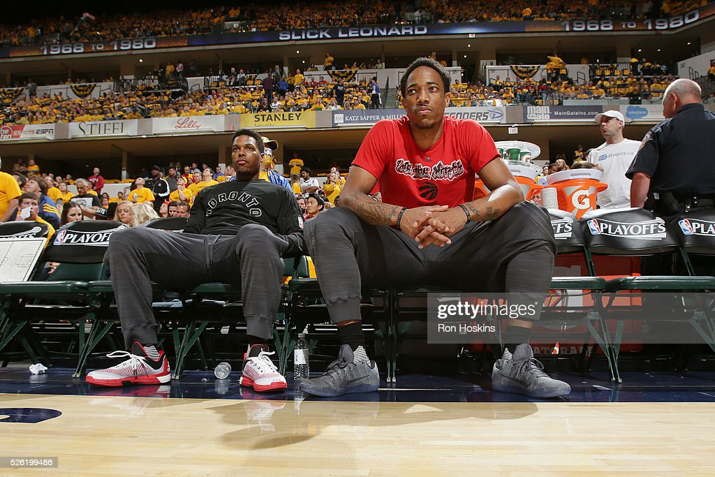 Kyle Lowry #7 of the Toronto Raptors and DeMar DeRozan #10 of the Toronto Raptors are introduced before the game against the Indiana Pacers in Game Six of the Eastern Conference Quarterfinals during the 2016 NBA Playoffs on April 29, 2016 at Bankers Life Fieldhouse in Indianapolis, Indiana.